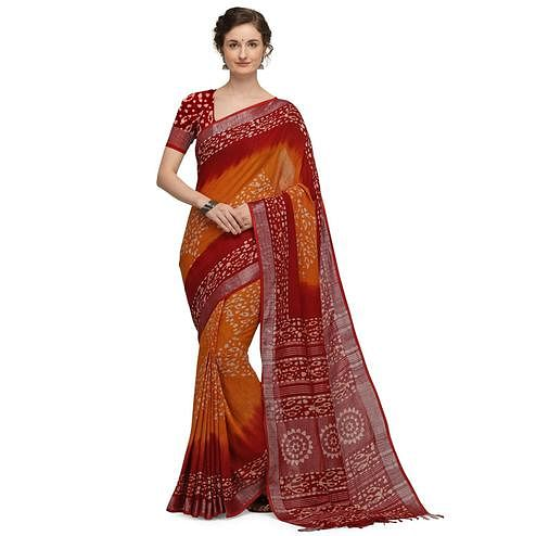 IRIS - Orange Colored Casual Cotton Saree