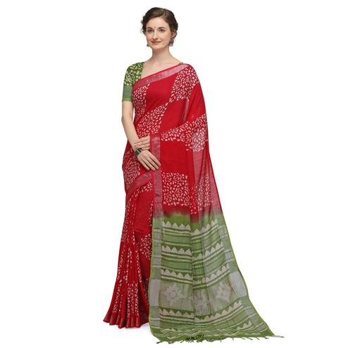 IRIS - Red Colored Casual Cotton Saree