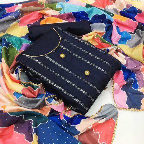 Iris - Navy Blue Colored Casual Cotton Dress Material