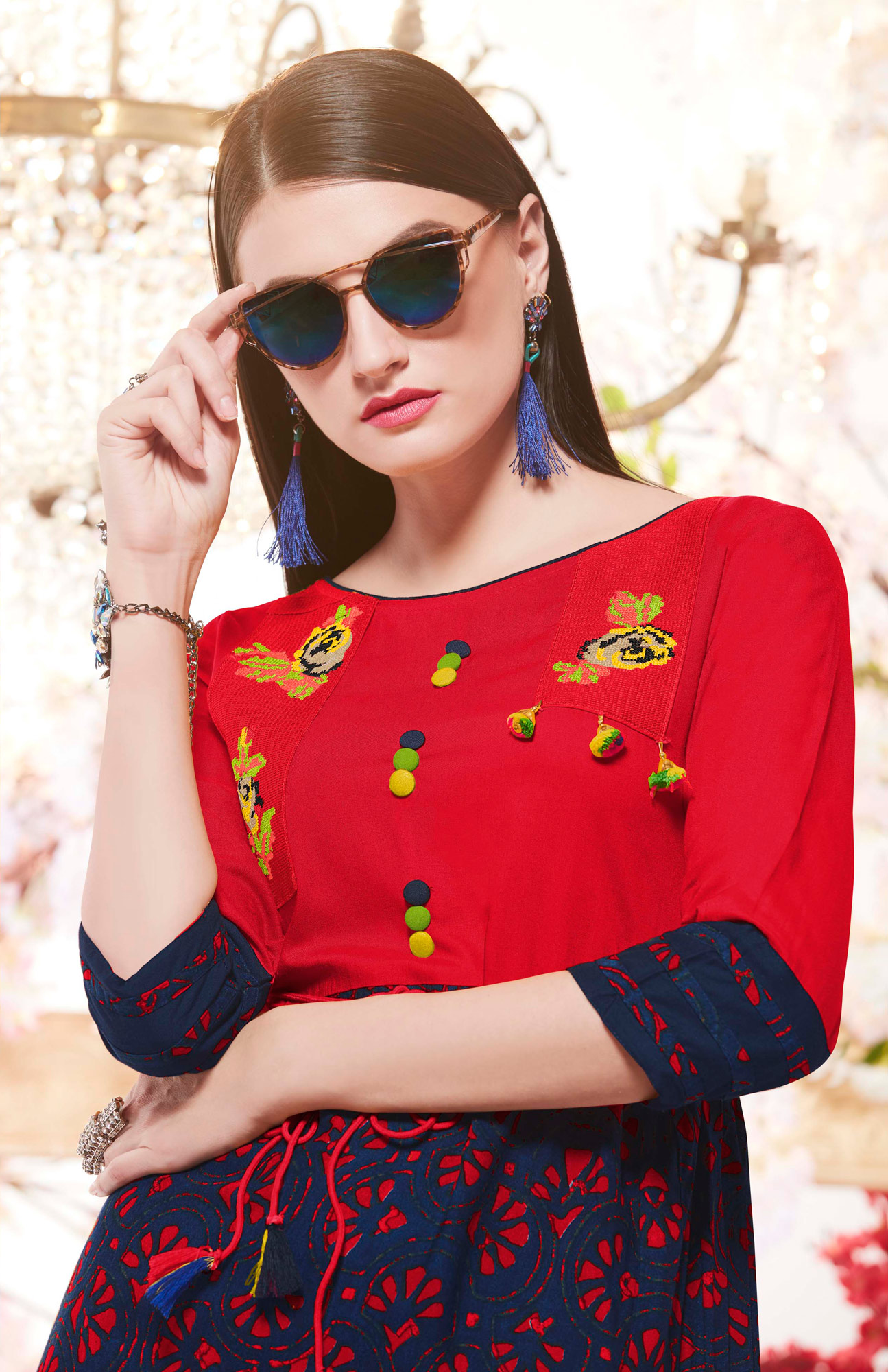 Stunning Red-Navy Blue Designer Casual Wear Printed And Embroidered Rayon Kurti