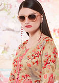 Graceful Cream Colored Designer Casual Wear Floral Printed Cotton Kurti