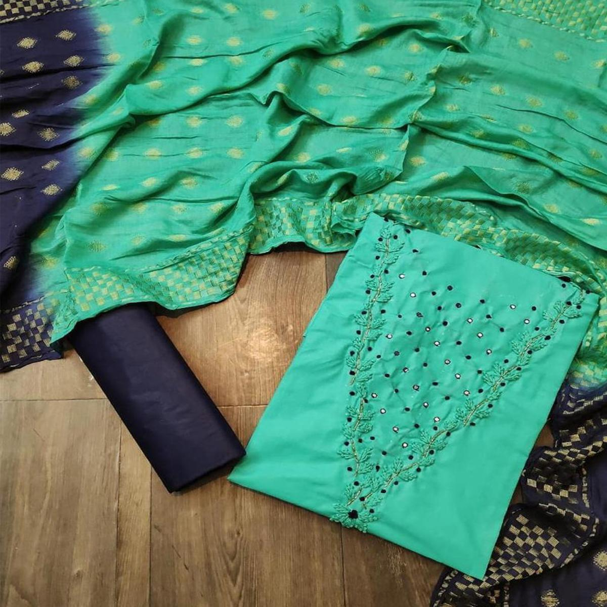 Iris - Teal Green Colored Casual Cotton Dress Material