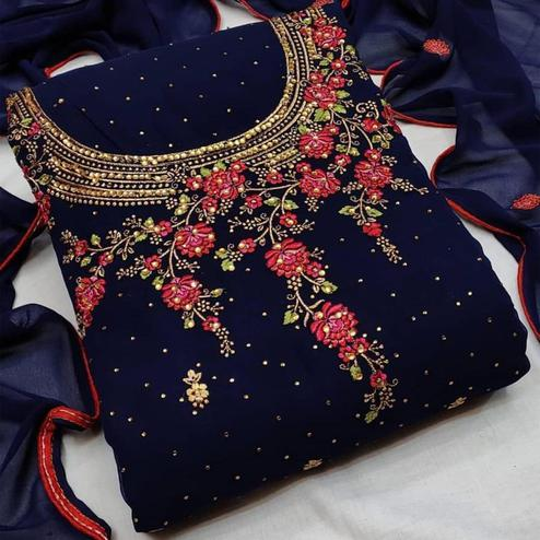 Iris - Navy Blue Colored Partywear Embroidered Georgette Dress Material