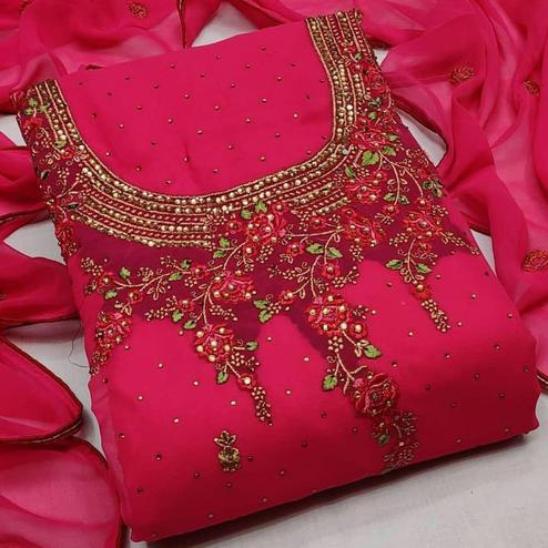 Iris - Pink Colored Partywear Embroidered Georgette Dress Material