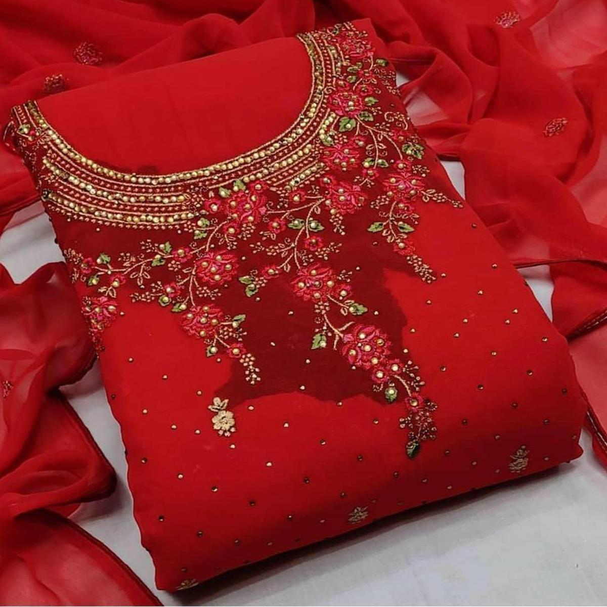 Iris - Red Colored Partywear Embroidered Georgette Dress Material