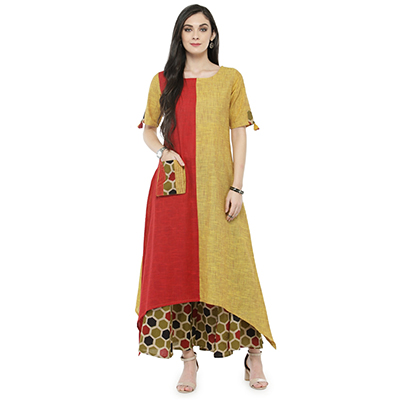 Red-Yellow Colored Printed Cotton Kurti