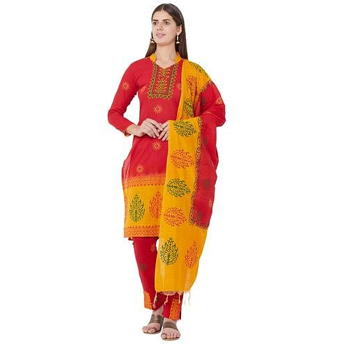 Iris - Red Colored Casual Block Printed Cotton Dress Material