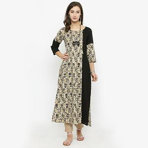 Cream-Black Colored Printed Cotton Kurti