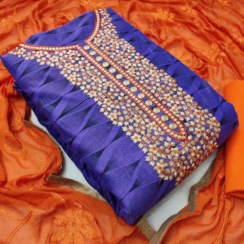 Iris - Purple Colored Casual Embroidered Chanderi Silk Dress Material