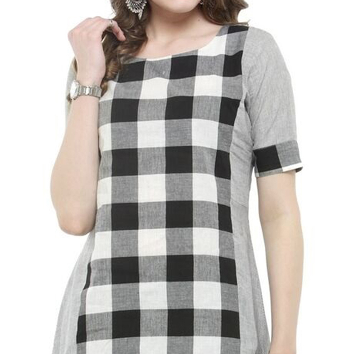 Black-White Colored Checked Cotton Kurti