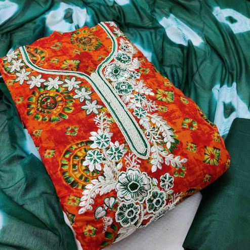 Iris - Orange Colored Casual Embroidered Cotton Dress Material