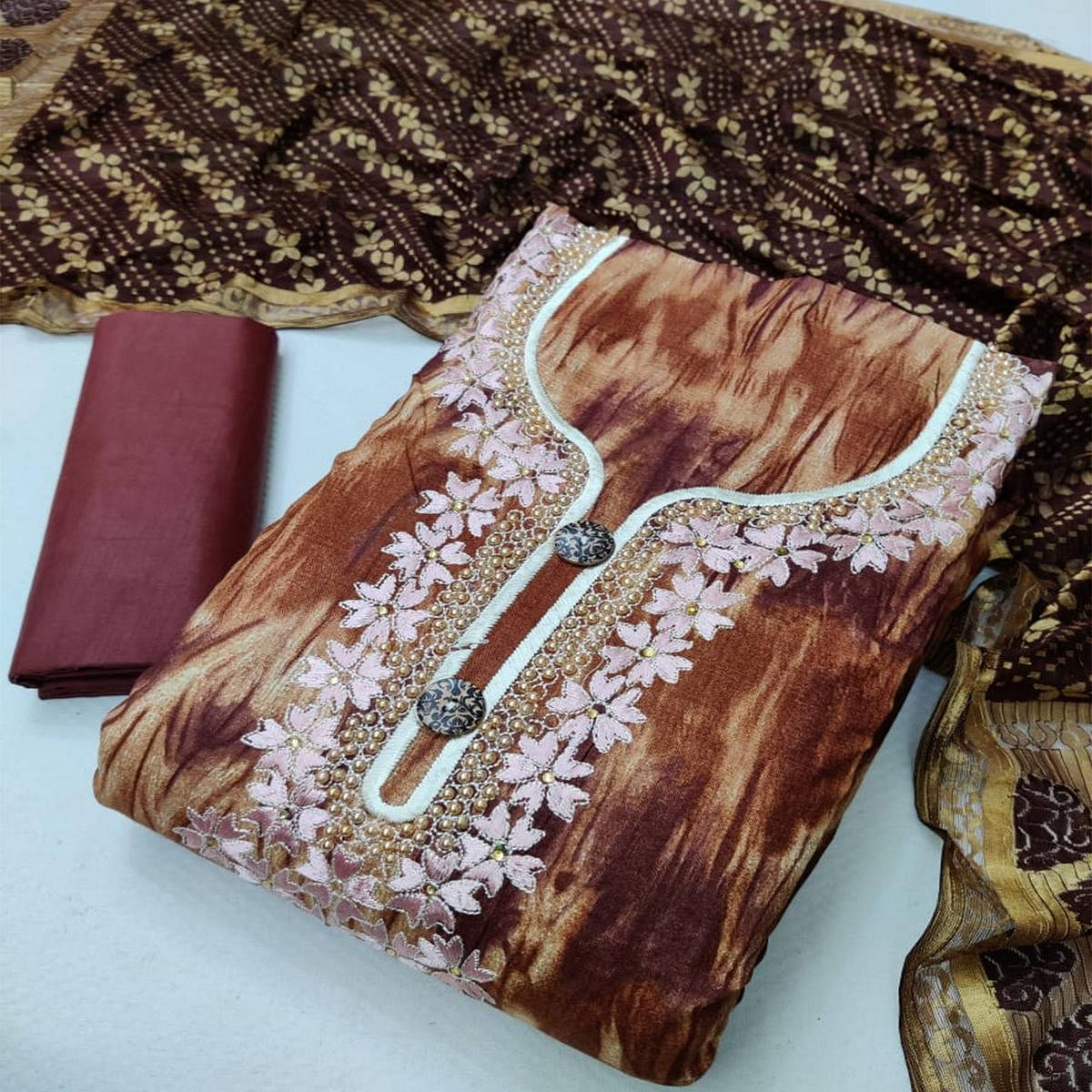 Iris - Coffee Brown Colored Casual Embroidered Cotton Dress Material