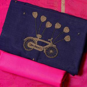 Beautiful Navy Blue-Pink Colored Embroidered Chanderi Cotton Dress Material