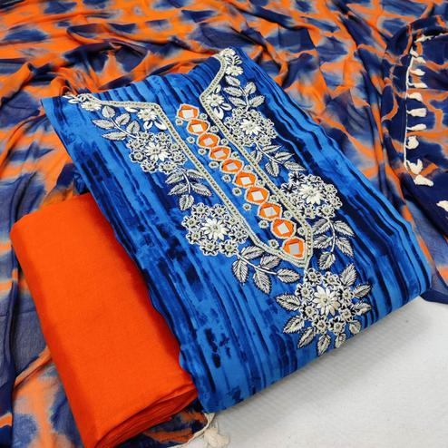Iris - Blue Colored Casual Embroidered Cotton Dress Material