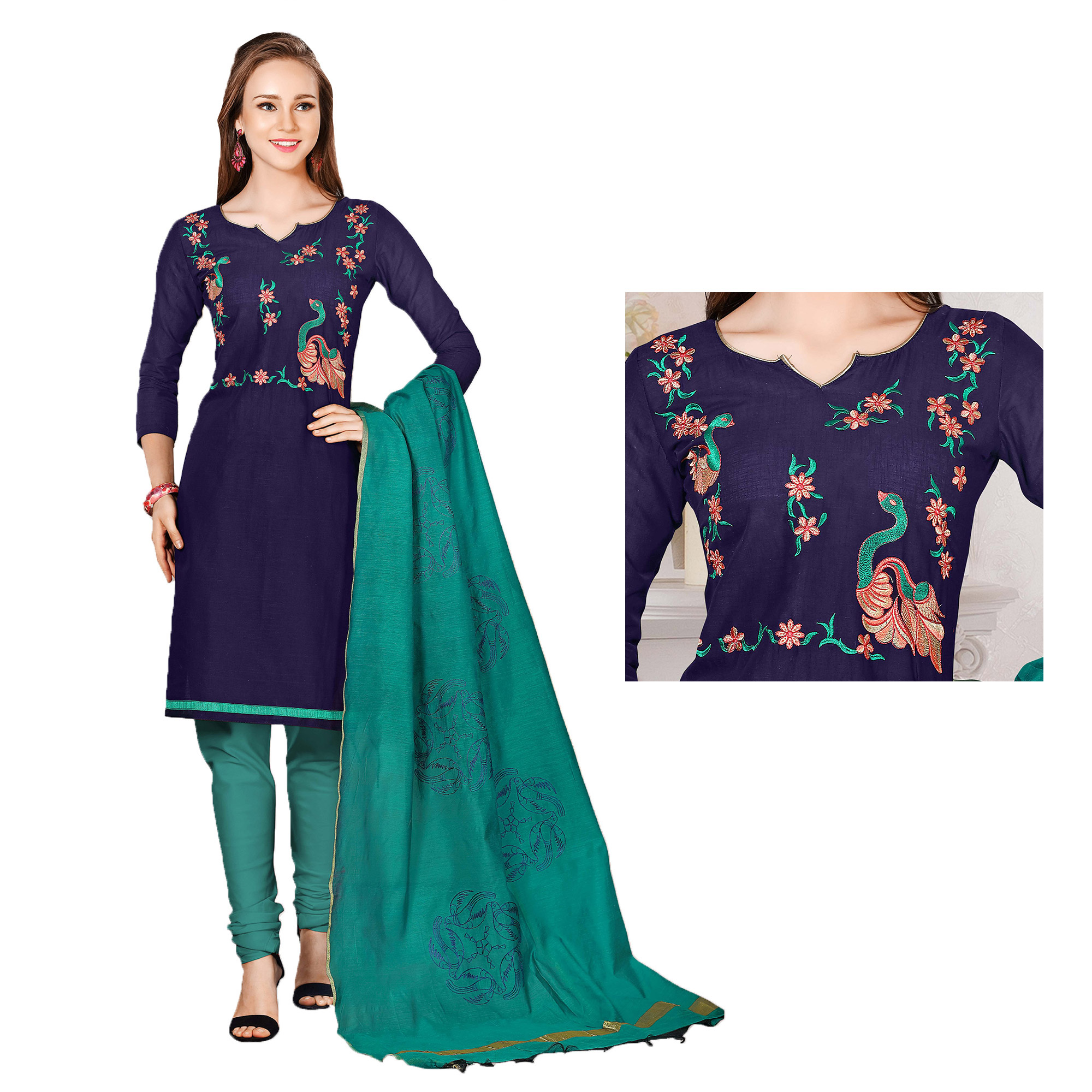 Graceful Navy Blue-Green Colored Embroidered Chanderi Cotton Dress Material