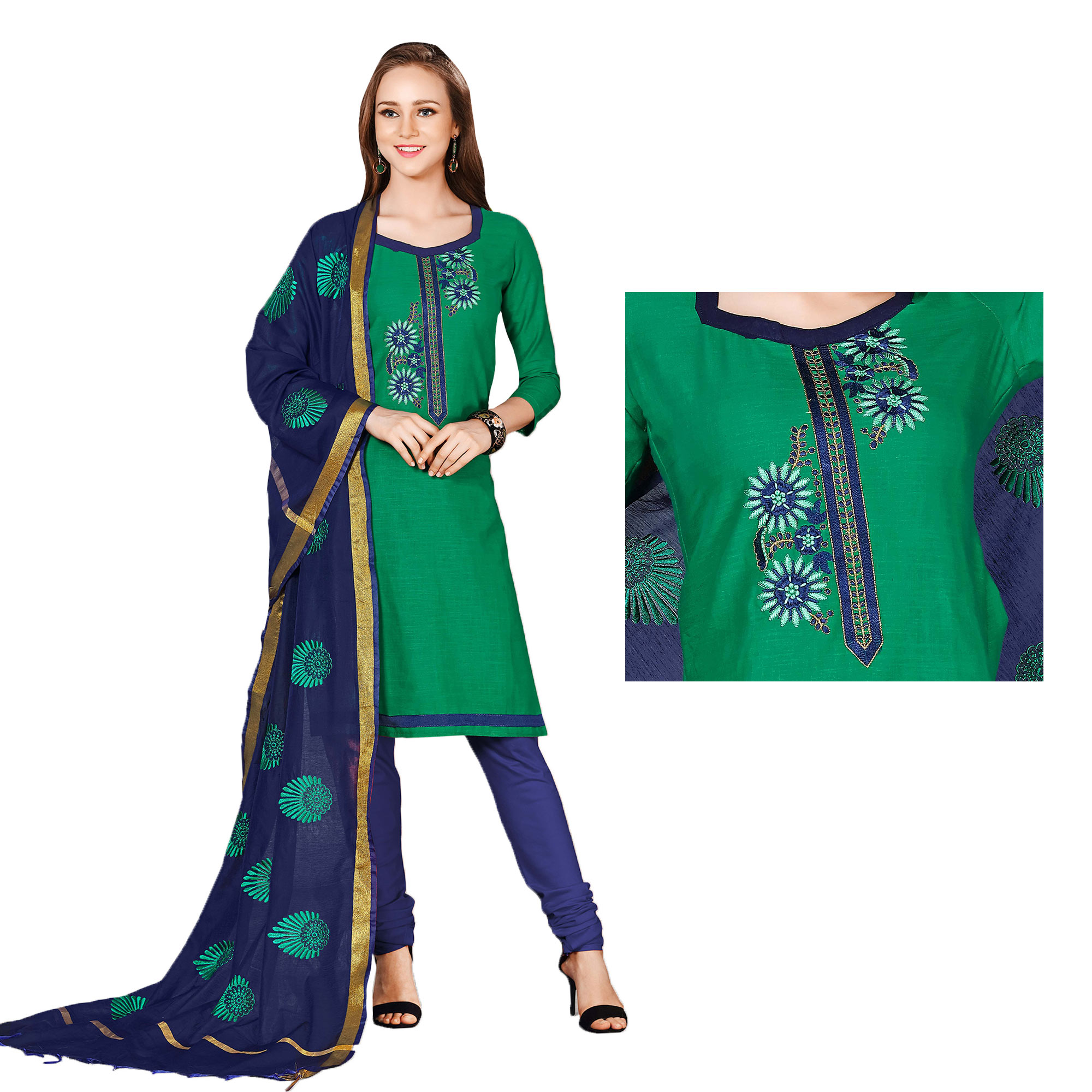 Adorable Green-Blue Colored Embroidered Chanderi Cotton Dress Material