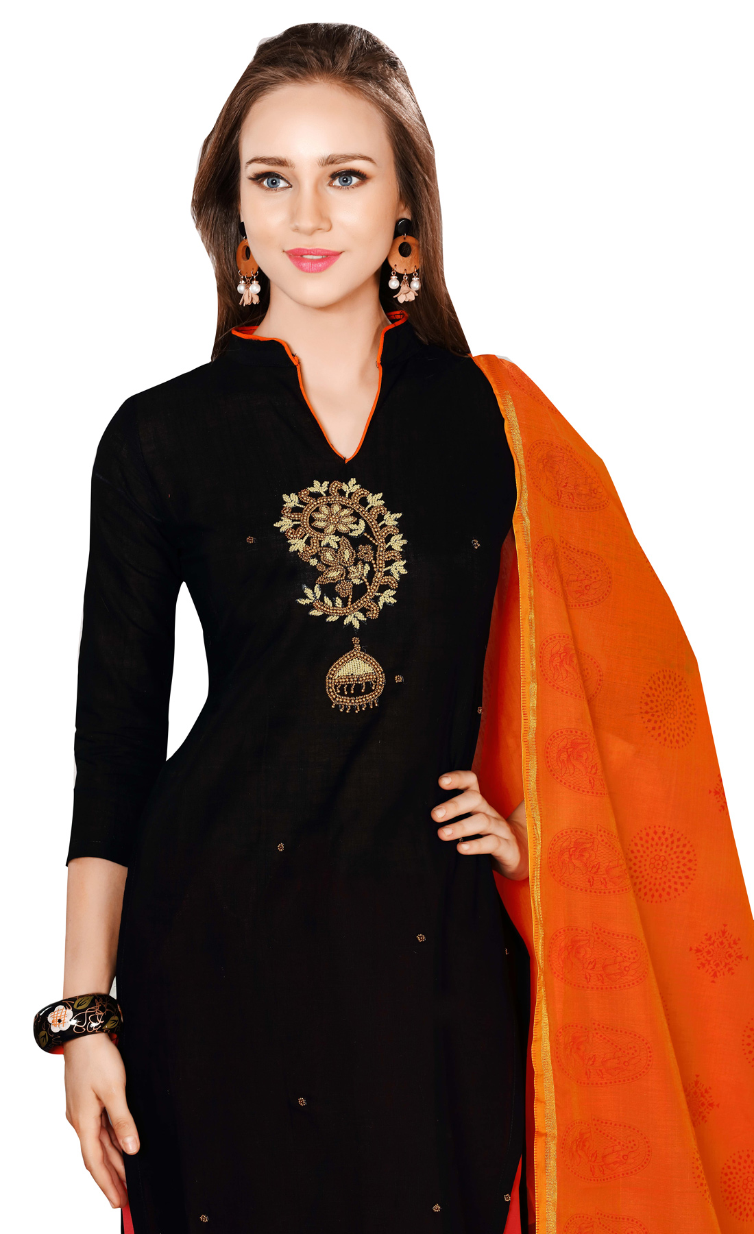 Charming Black-Orange Colored Embroidered Chanderi Cotton Dress Material
