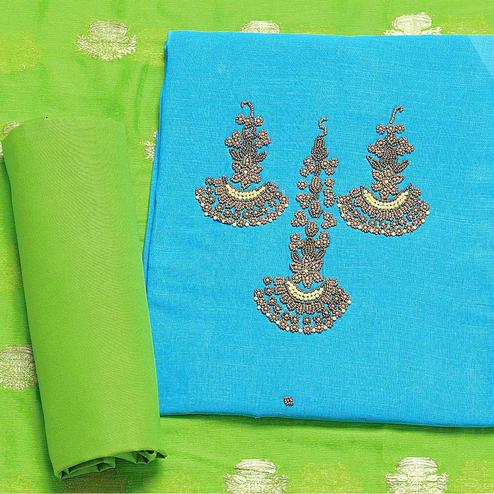 Stunning Sky Blue-Green Colored Embroidered Chanderi Cotton Dress Material