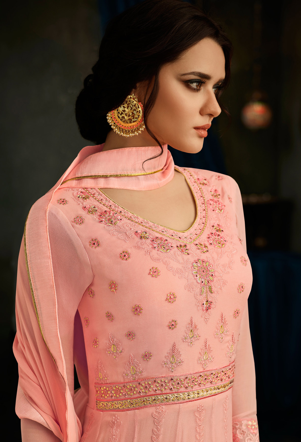Stunning Peach Designer Embroidered Partywear Georgette Anarkali Suit