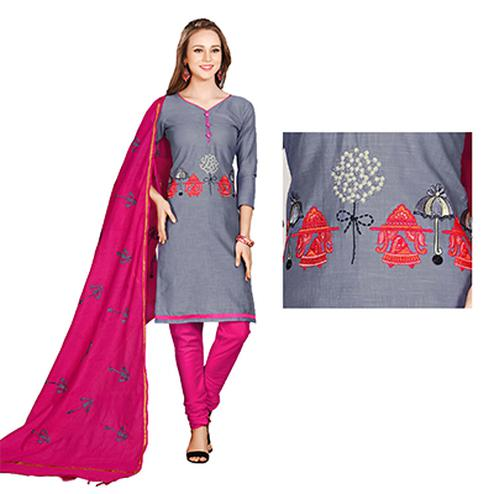 Stylish Gray-Pink Colored Embroidered Chanderi Cotton Dress Material