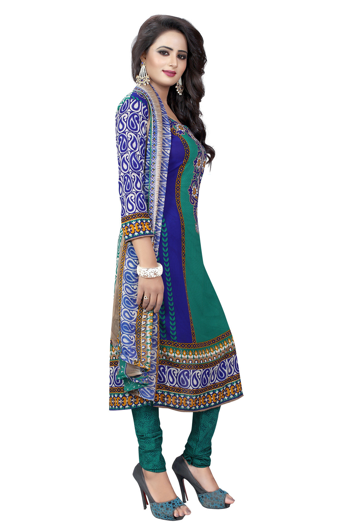 Green - Blue Casual Floral Printed Suit
