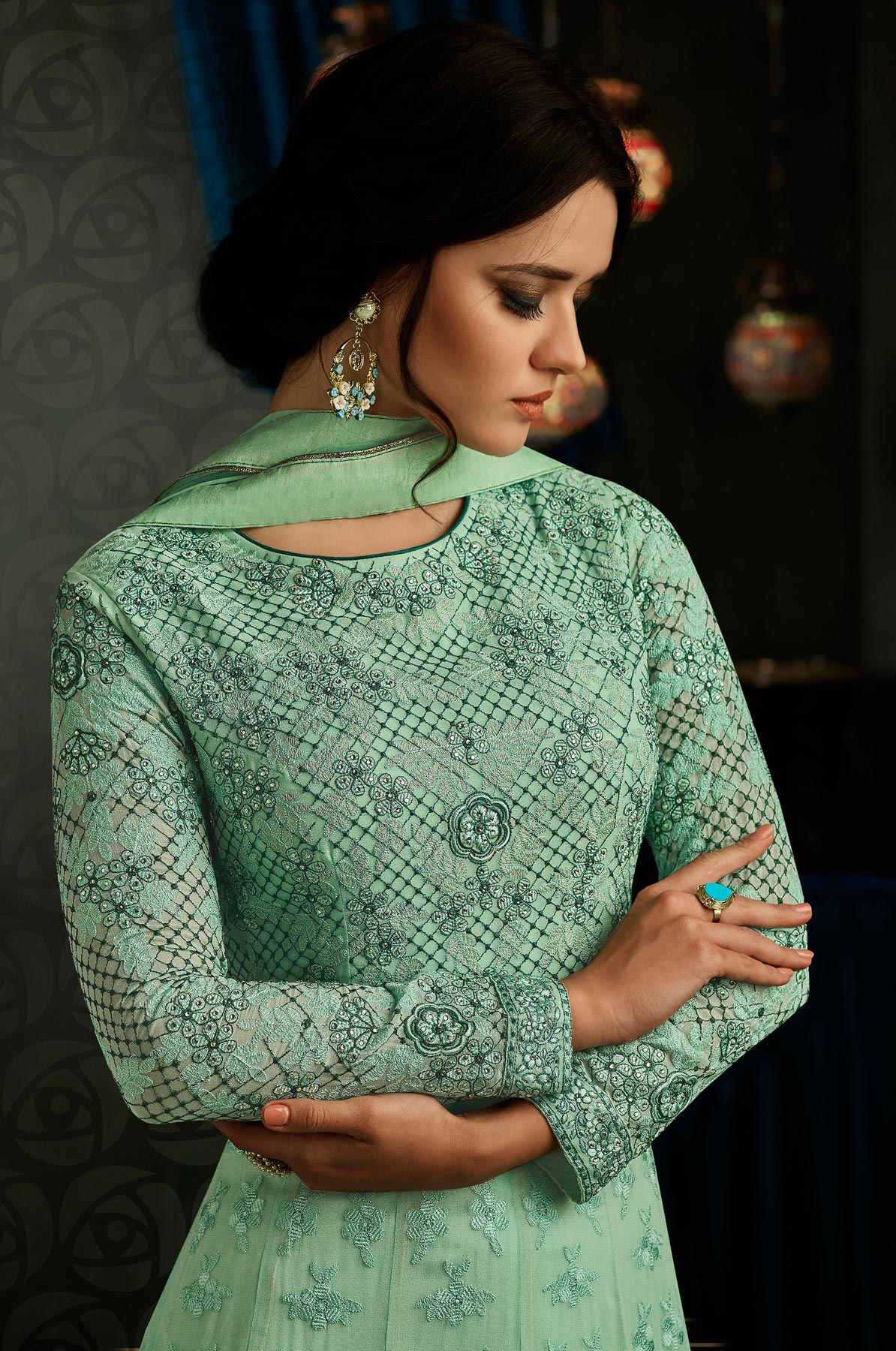 Lovely Sea Green Designer Embroidered Partywear Georgette Anarkali Suit
