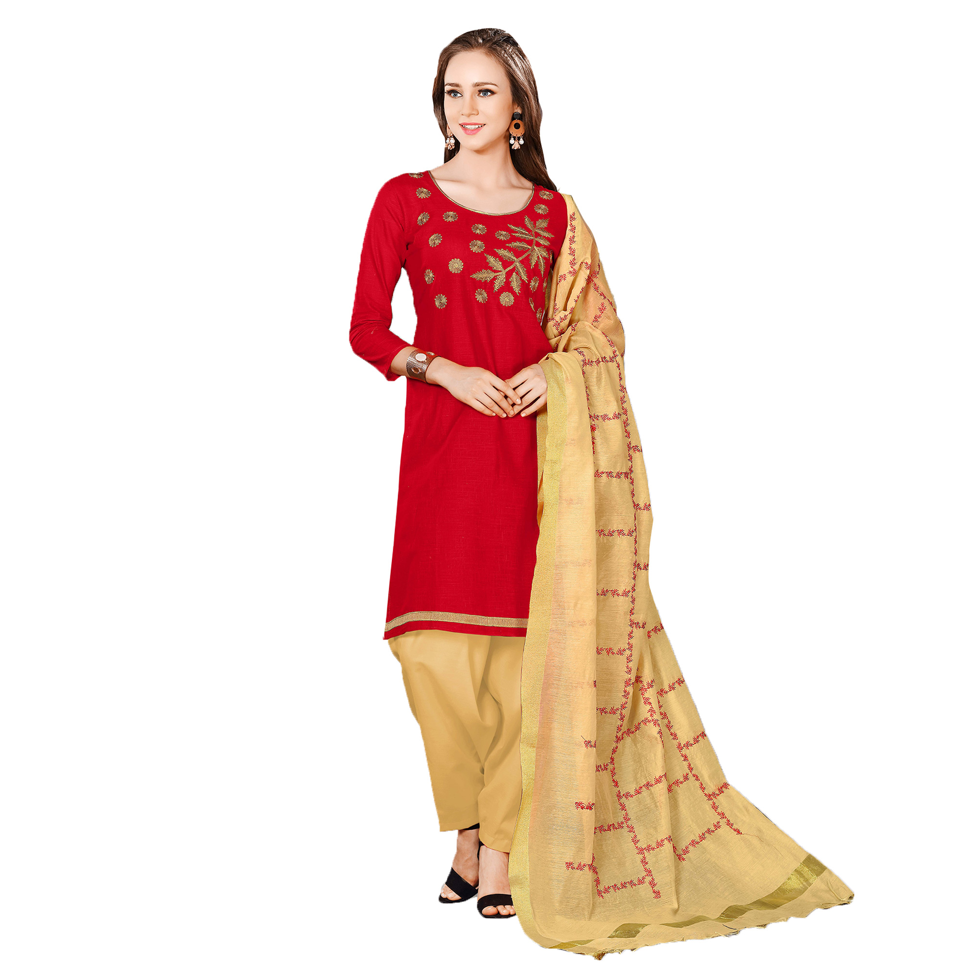 Flamboyant Red-Beige Colored Embroidered Chanderi Cotton Dress Material