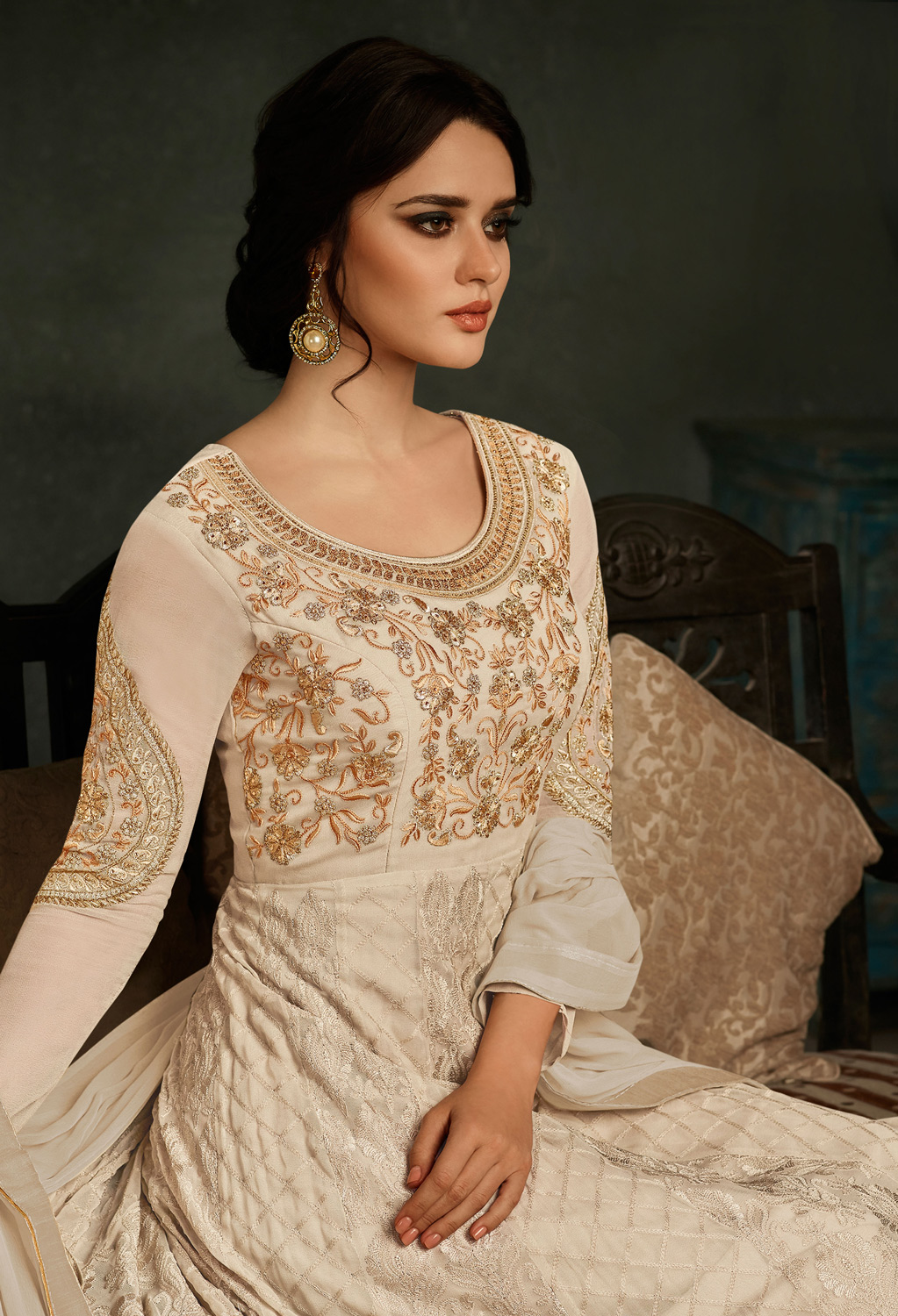 Mesmerising Off-White Colored Designer Embroidered Partywear Georgette Anarkali Suit