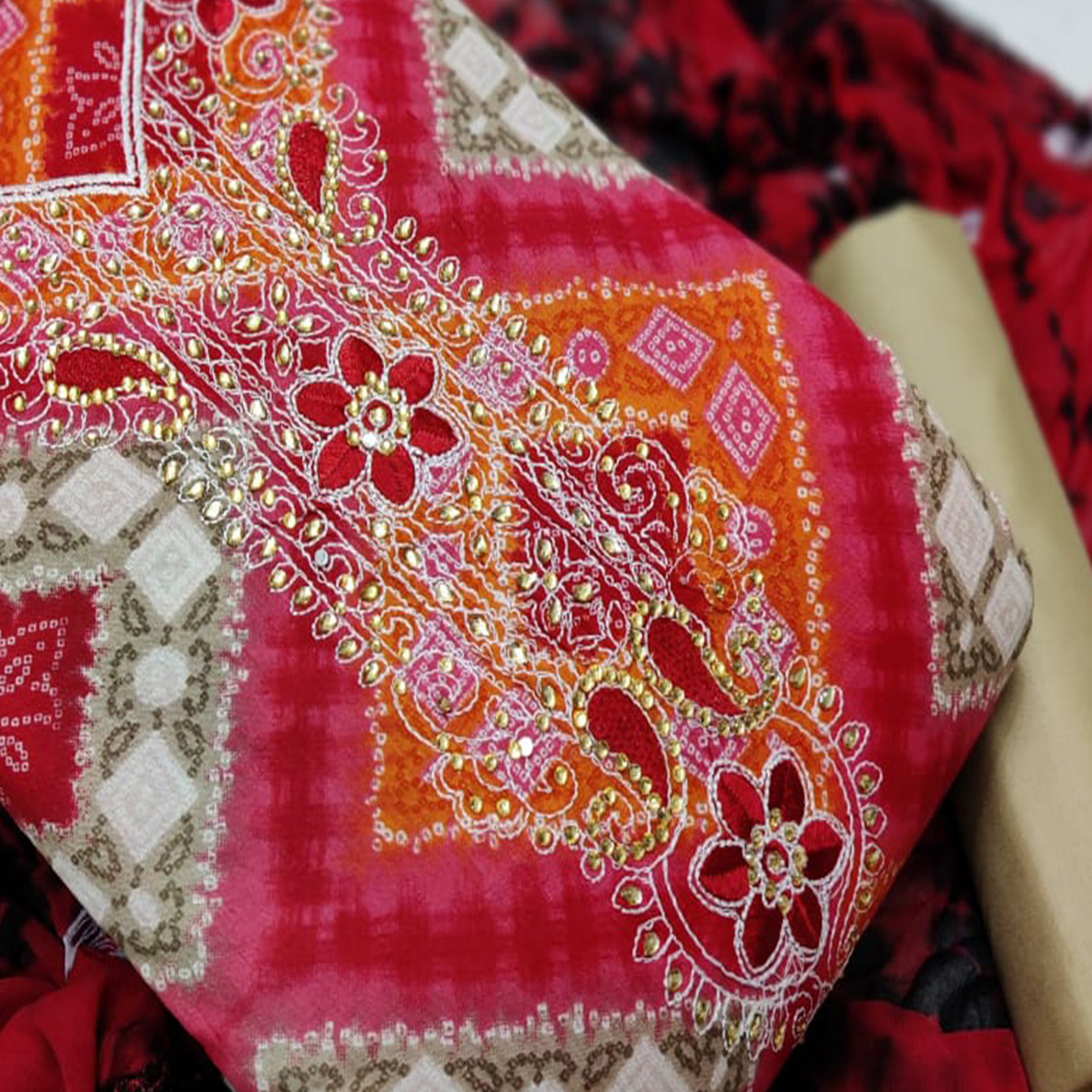 Iris - Red Colored Casual Hand Work Cotton Dress Material