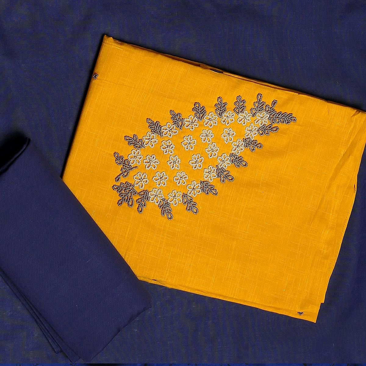 Attractive Yellow-Blue Colored Embroidered Chanderi Cotton Dress Material