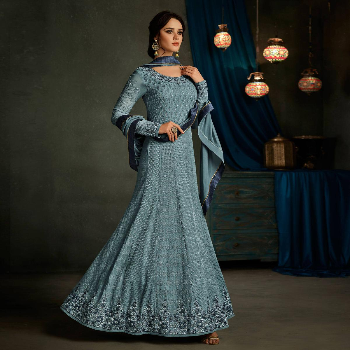 Beautiful Navy Blue Designer Embroidered Partywear Georgette Anarkali Suit