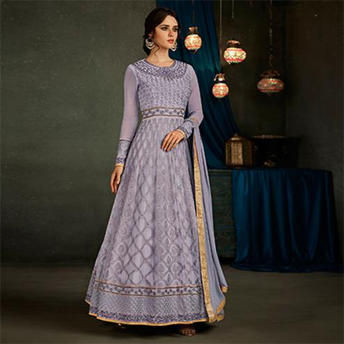Graceful Purple Designer Embroidered Partywear Georgette Anarkali Suit