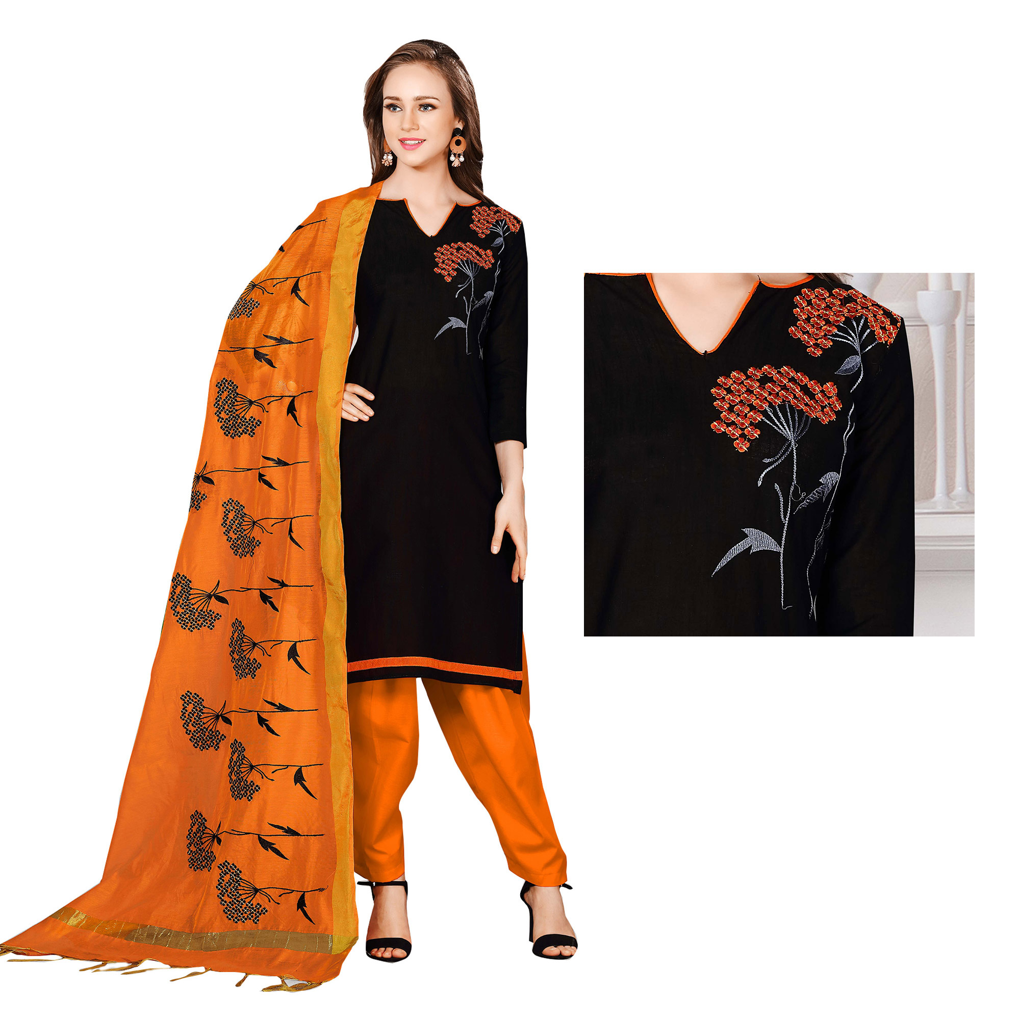 Gorgeous Black-Orange Colored Embroidered Chanderi Cotton Dress Material