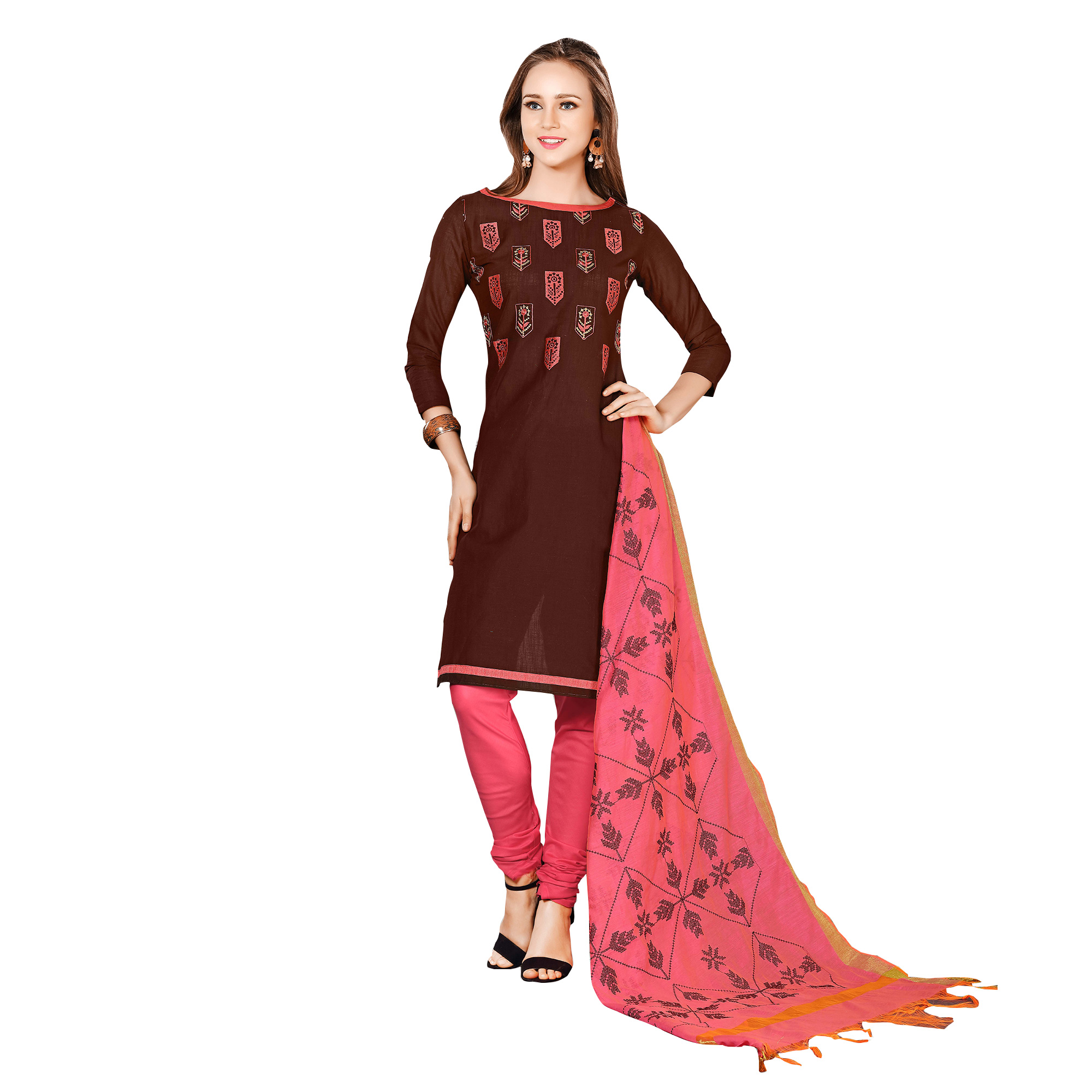 Elegant Brown-Pink Colored Embroidered Chanderi Cotton Dress Material