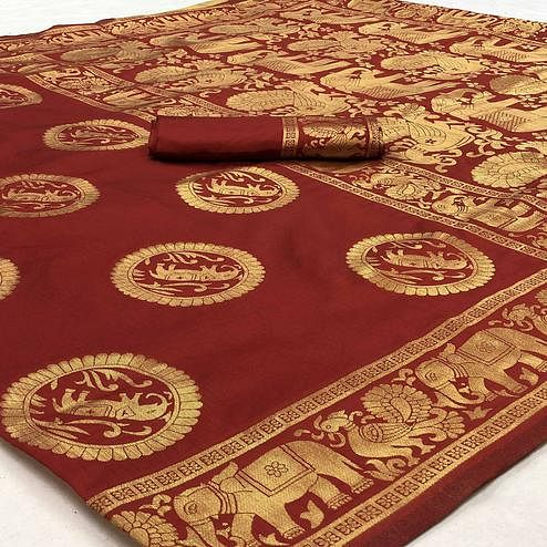 Entrancing Maroon Colored Festive Wear Woven Banarasi Silk Saree