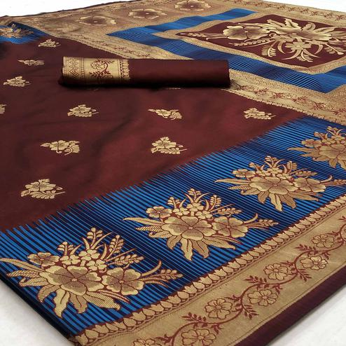 Groovy Brown Colored Festive Wear Woven Banarasi Silk Saree