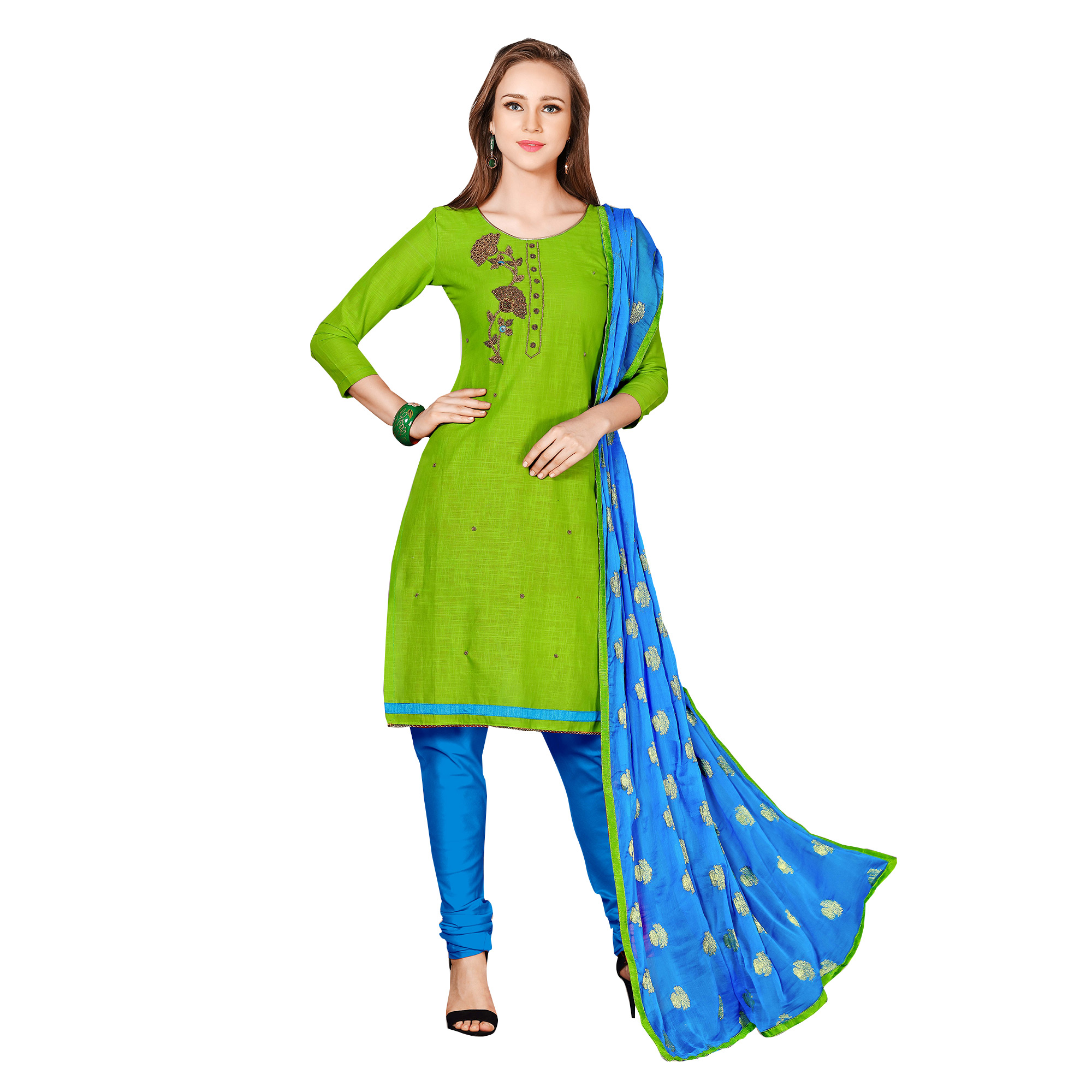 Gorgeous Parrot Green-Blue Colored Embroidered Chanderi Cotton Dress Material