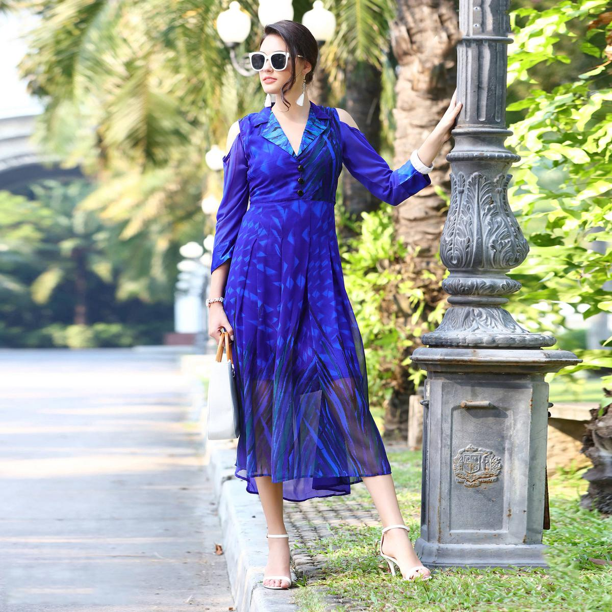 Lovely Blue Partywear Printed Georgette Kurti