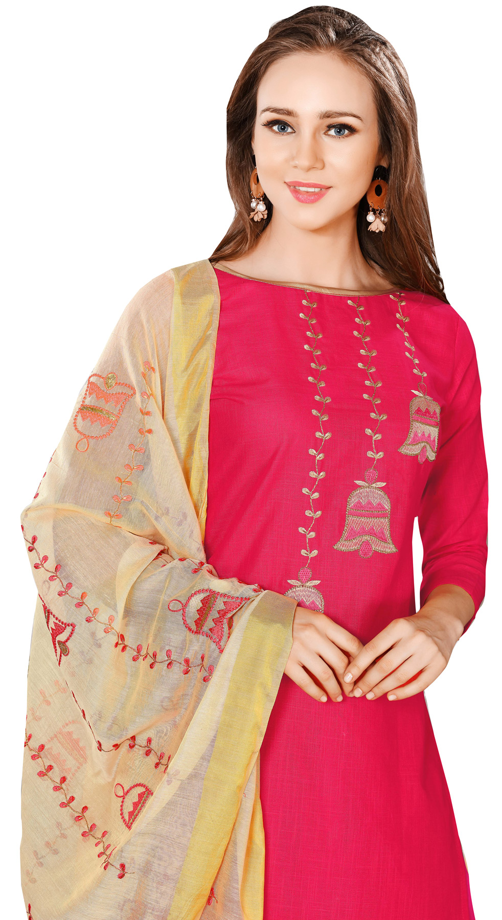 Blooming Pink-Beige Colored Embroidered Chanderi Cotton Dress Material