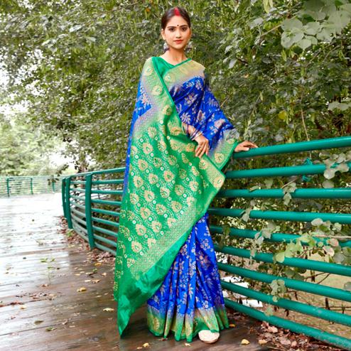 Ravishing Blue Colored Festive Wear Woven Silk Saree