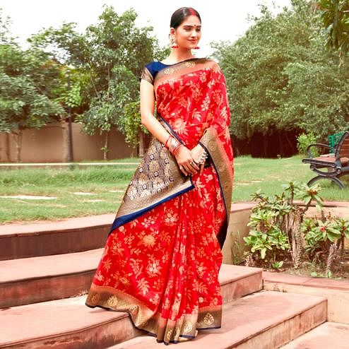 Staring Red Colored Festive Wear Woven Silk Saree