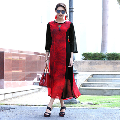 Hot Red Partwear Printed Georgette Kurti