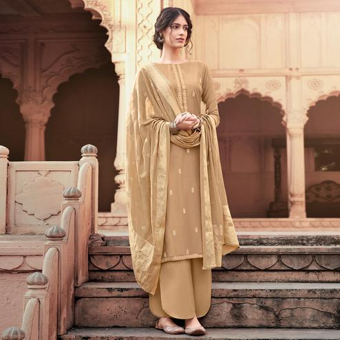 Sophisticated Beige Colored Partywear Embroidered Viscose Muslin Palazzo Suit