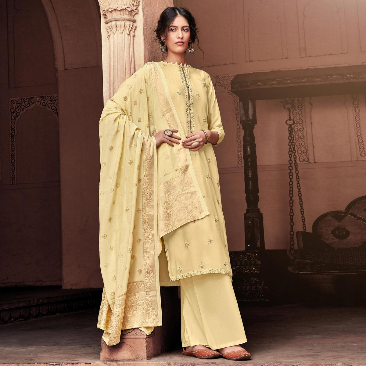 Elegant Cream Colored Partywear Embroidered Viscose Muslin Palazzo Suit