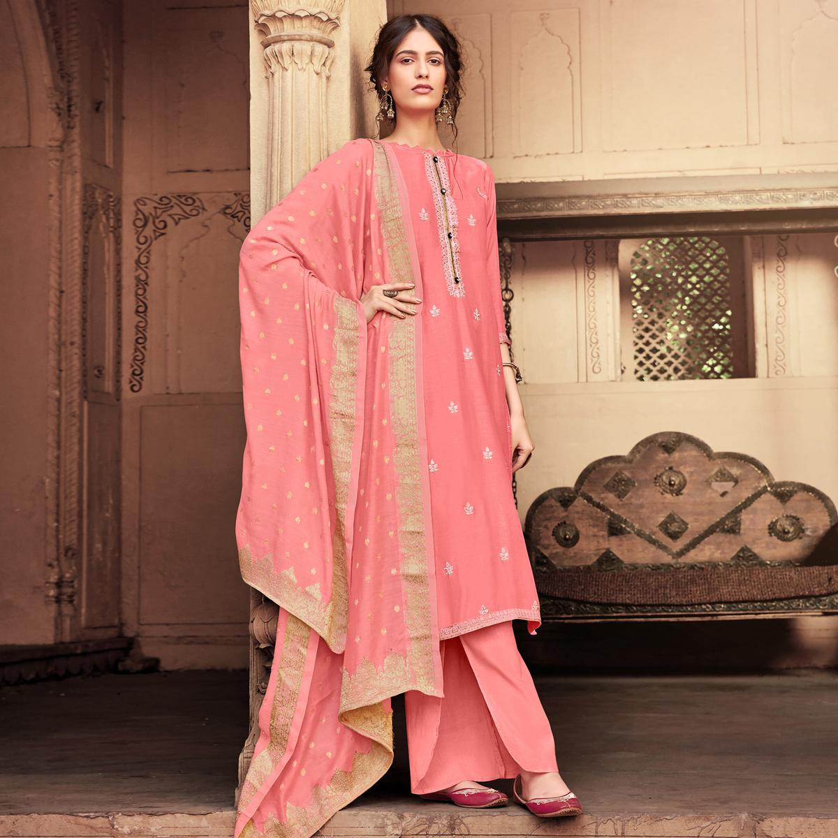 Radiant Pink Colored Partywear Embroidered Viscose Muslin Palazzo Suit