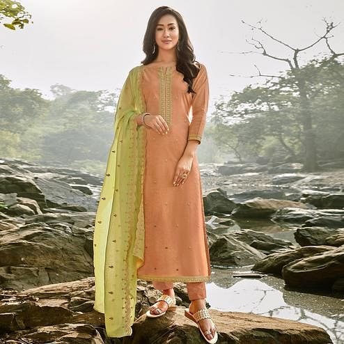 Opulent Peach Colored Partywear Embroidered Chanderi Cotton Suit
