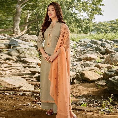 Energetic Grey Colored Partywear Embroidered Chanderi Cotton Suit