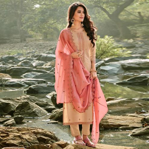 Glowing Beige Colored Partywear Embroidered Chanderi Cotton Suit