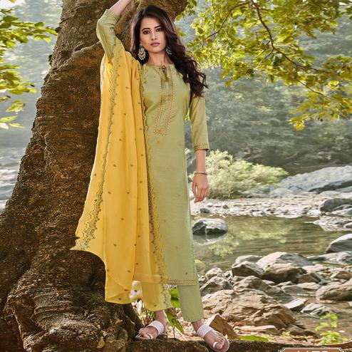 Exceptional Pista Green Colored Partywear Embroidered Chanderi Cotton Suit