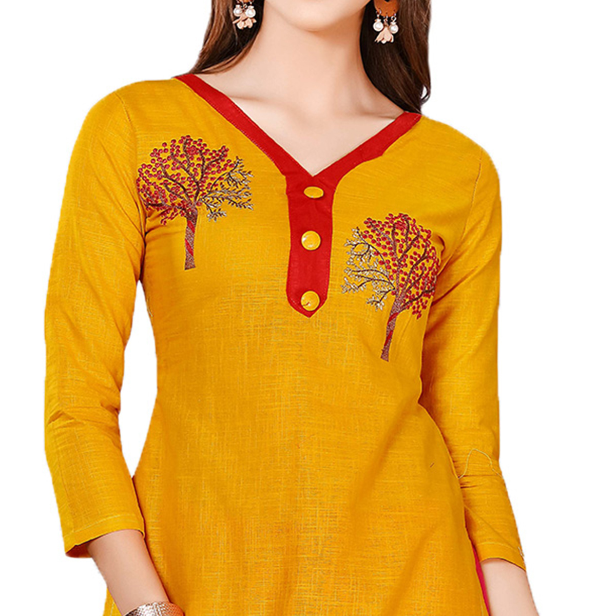 Flamboyant Yellow-Pink Colored Embroidered Chanderi Cotton Dress Material